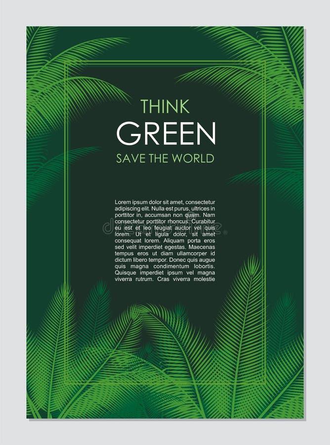 Myśli zieleni granica i rama Iść zielony liści pojęcie royalty ilustracja