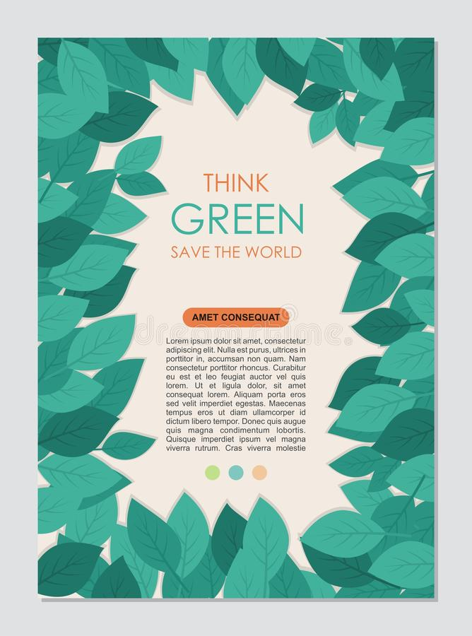 Myśli zieleni granica i rama Iść zielony liści pojęcie ilustracja wektor