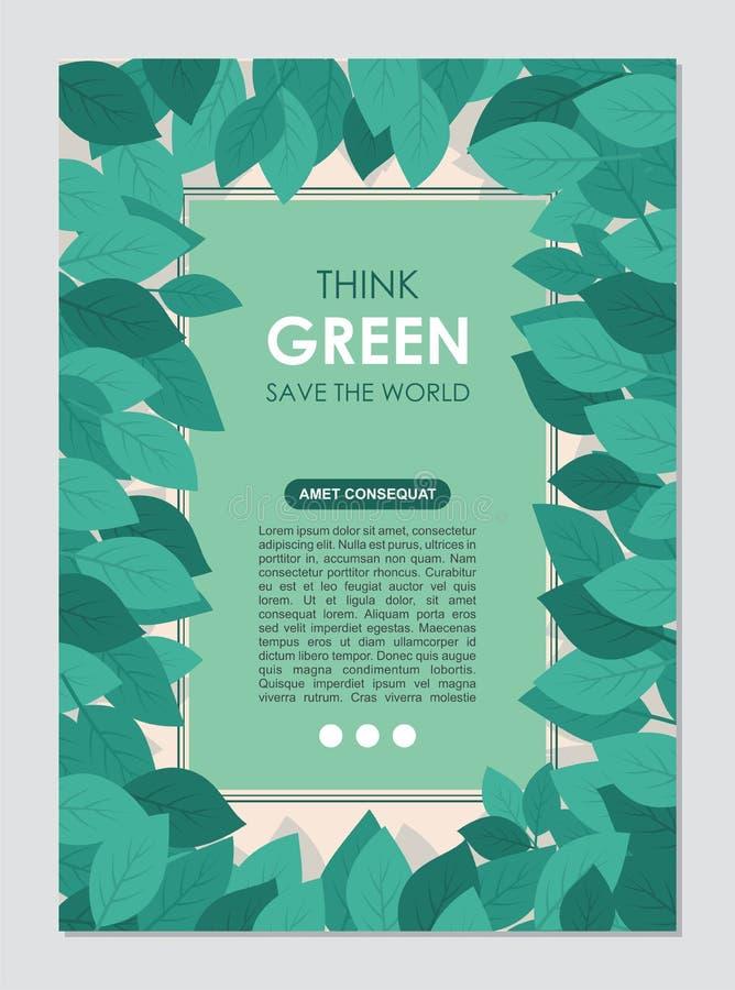 Myśli zieleni granica i rama Iść zielony liści pojęcie ilustracji