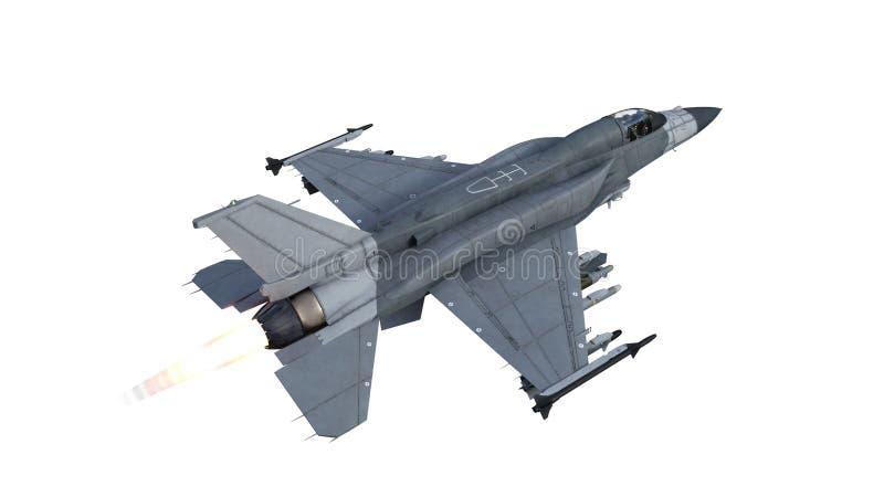 Myśliwa samolot w locie, samolot wojskowy, wojsko samolot odizolowywający na białym tle, odgórny widok, 3D odpłaca się royalty ilustracja