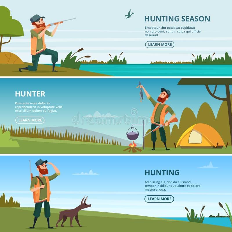 Myśliwi na polowanie sztandarach Kreskówek ilustracje polowanie ilustracji