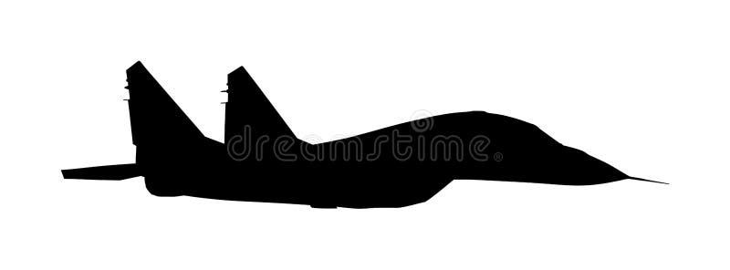 Myśliwiec odrzutowy sylwetka odizolowywająca na białym tle Wojskowego płaski symbol Samolot z pociskiem na obowiązku ilustracji