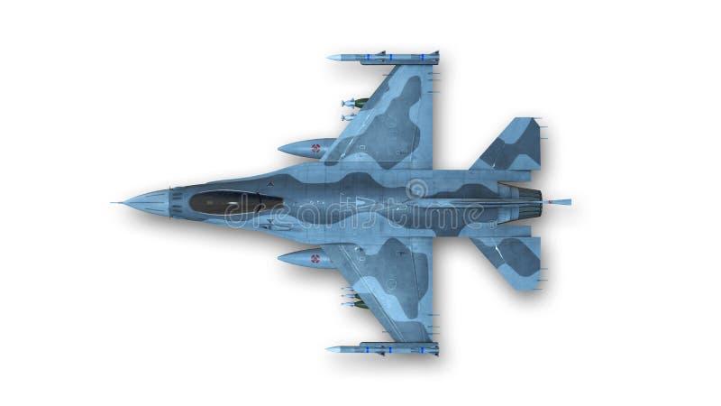 Myśliwiec, samolot wojskowy na białym tle, odgórny widok ilustracja wektor