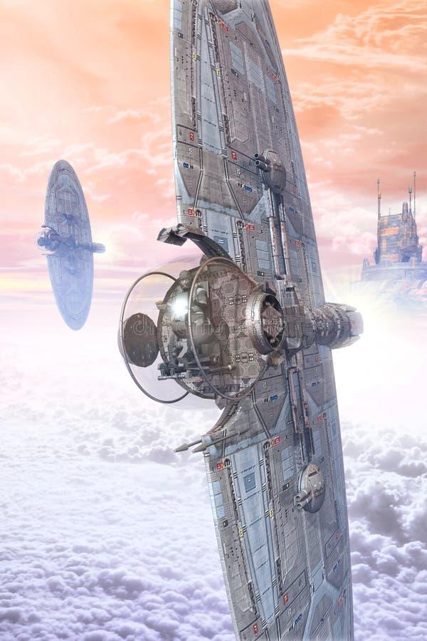 Myśliwski statek kosmiczny i futurystyczny miasto royalty ilustracja