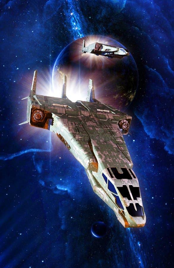 Myśliwski statek kosmiczny i planetarny system ilustracji