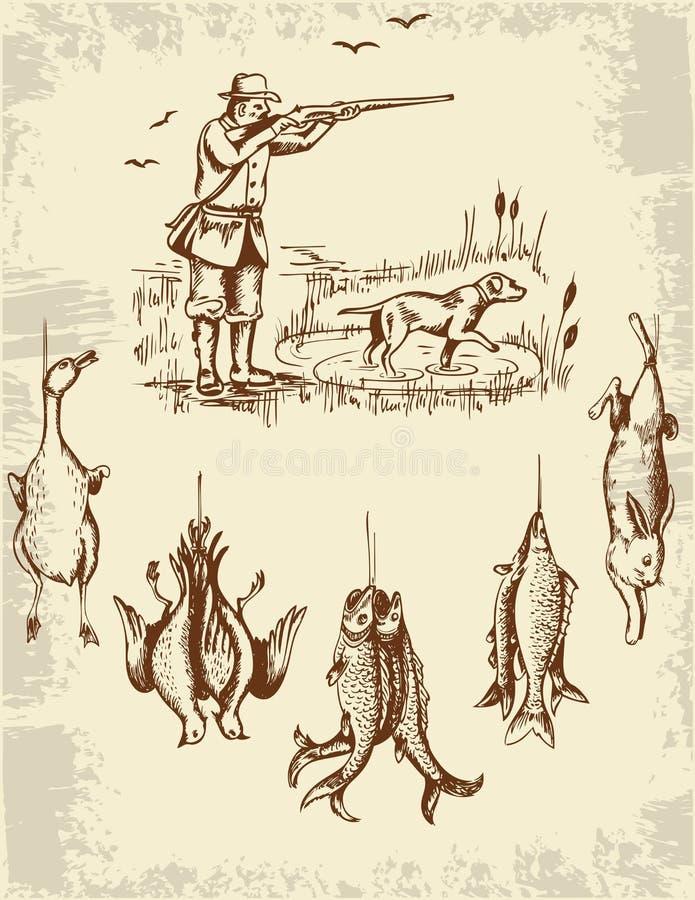 Myśliwy i dzikie zwierzęta royalty ilustracja