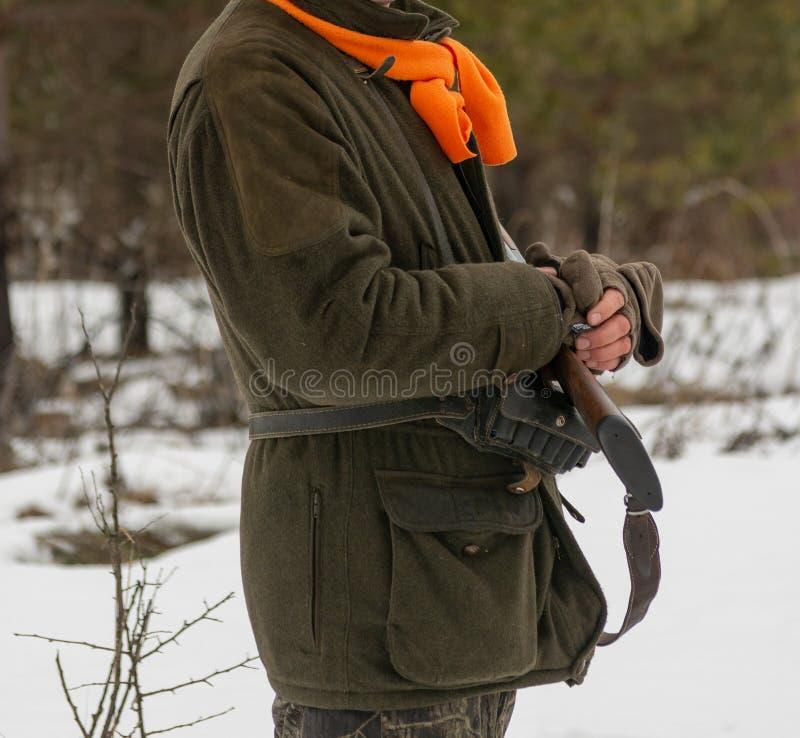 Myśliwy w zima bażanta lasowym polowaniu przy końcówką łowiecki sezon Mężczyzna trzyma pistolet w jego rękach zdjęcia stock