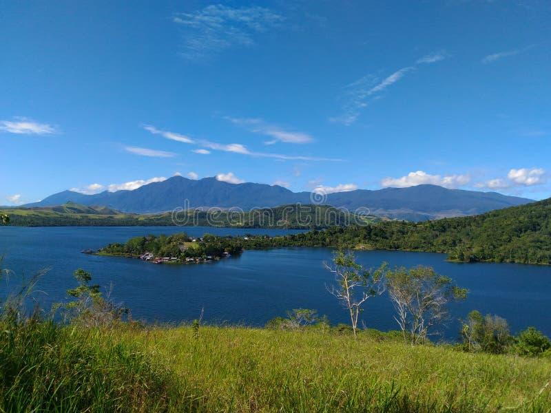 My Adventure. Lake Sentani Blue Sky stock image