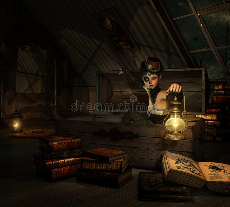 Download In my Attic, 3d CG stock illustration. Illustration of cute - 68348828