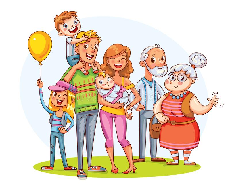 My big family together. Funny cartoon character. My big family together. Family portrait father, mother, daughter, son, grandparents. Funny cartoon character royalty free illustration