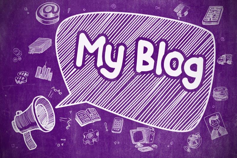 My Blog - Cartoon Illustration on Purple Chalkboard. vector illustration