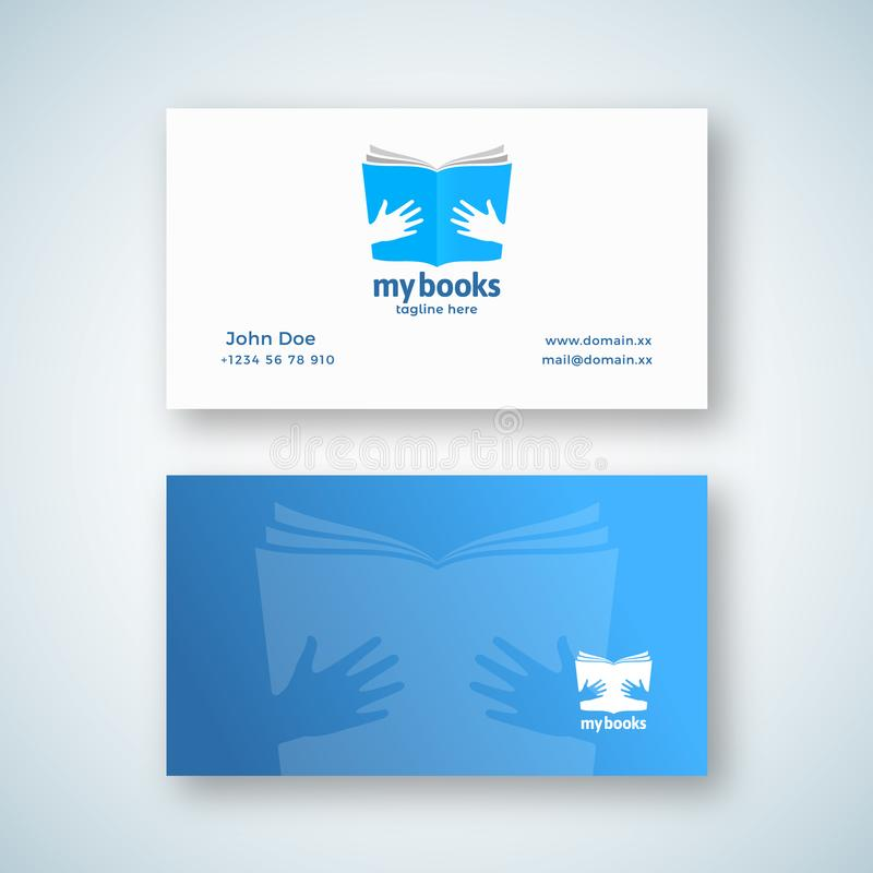 My Books Abstract Vector Sign or Logo and Business Card Template 现代排版的手中开本 皇族释放例证
