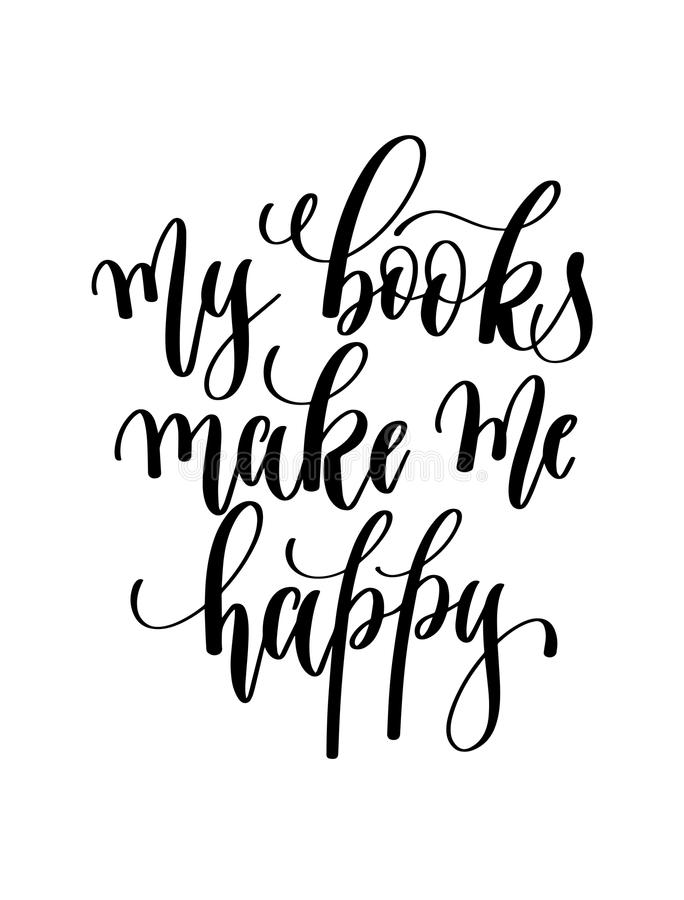 my books make me happy - hand lettering inscription text for back to school holiday stock illustration