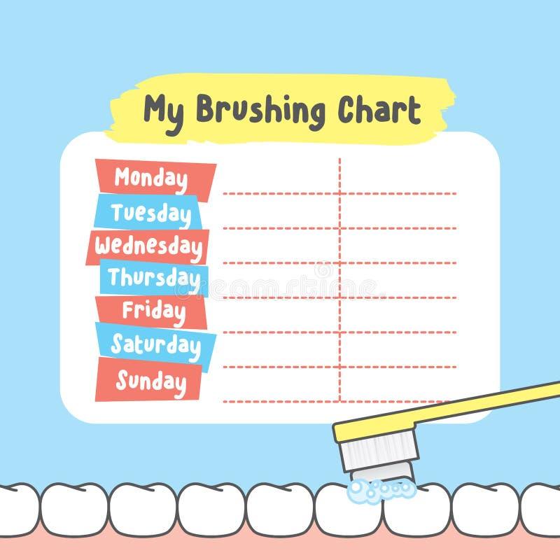 My brushing chart illustration vector on blue background. Dental stock illustration
