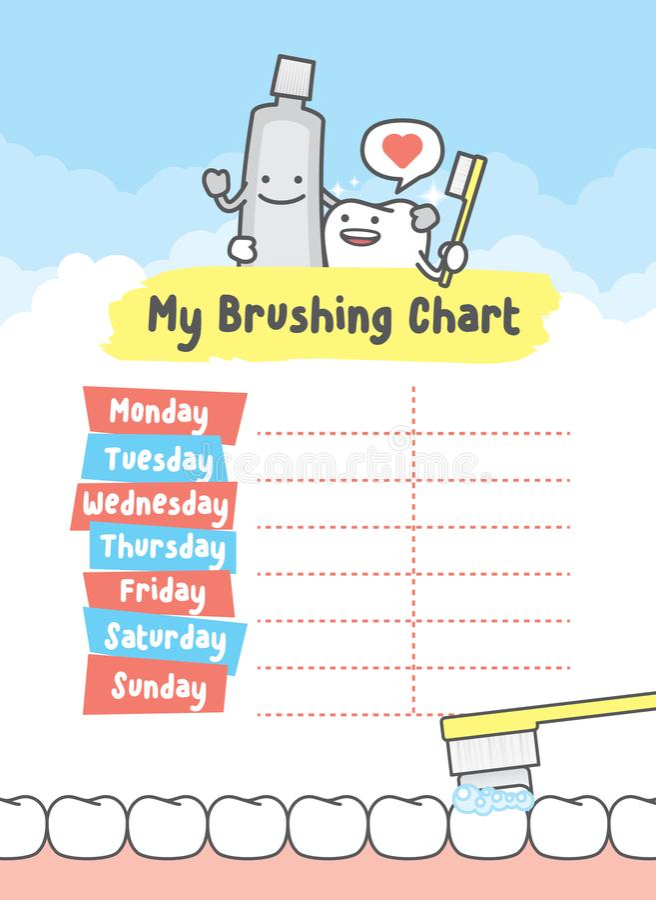 My brushing chart illustration vector on blue background. Dental. Concept vector illustration