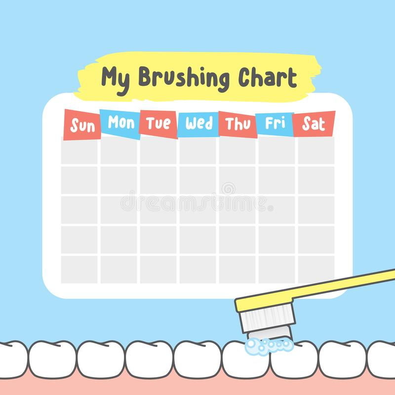 My brushing chart illustration vector on blue background. Dental vector illustration
