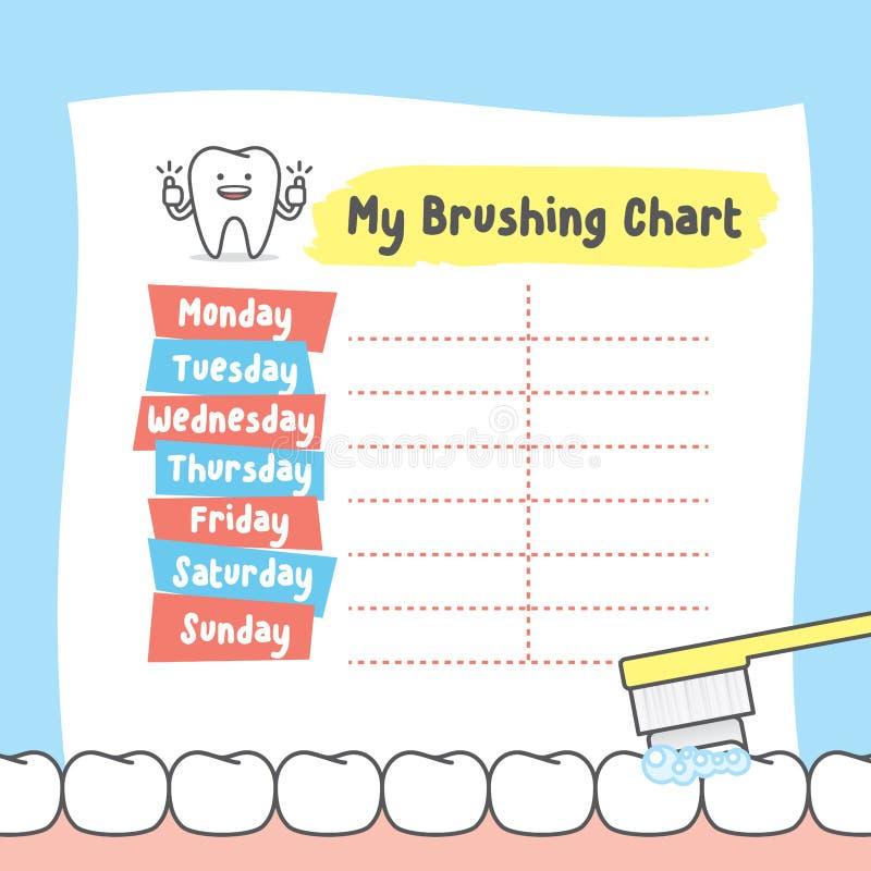 My brushing chart illustration vector on blue background. Dental royalty free illustration