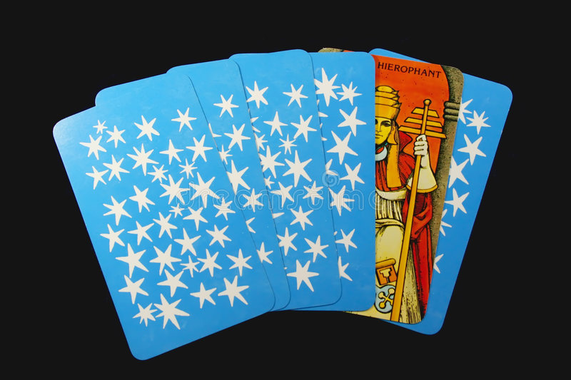 My cards. Tarot cards on black background stock image