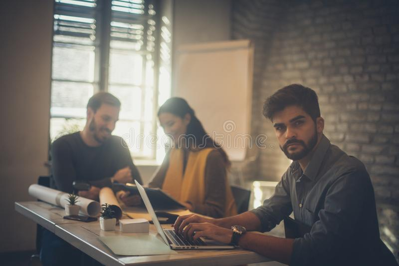 My colleague are not aware of business problems stock photography