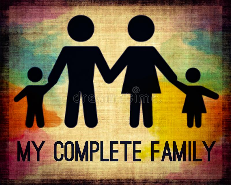 My complete family tagline with clip art abstract background. Wooden, texture, brown, color, pattern, ocean, interior, design, wallpaper, dark, colored royalty free stock photography