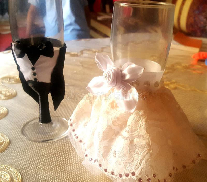 My creation. Custom glass for weeding my creations stock image