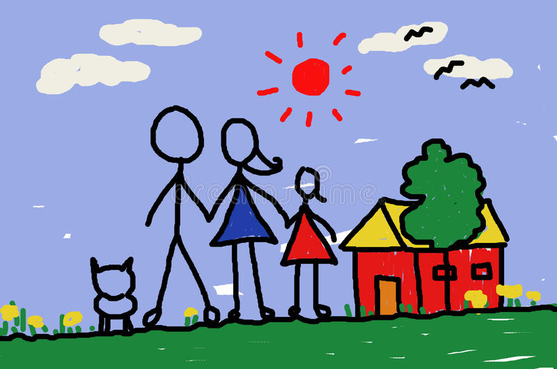 My dad and mom and me and home royalty free illustration