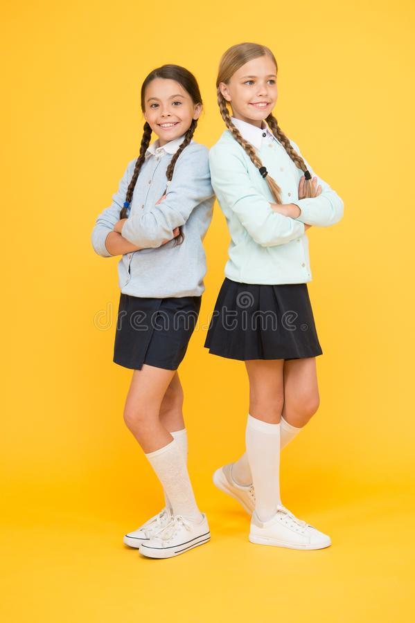 My dear friend. First school day. Sisterhood and friendship. Cheerful mood concept. School friendship. Support and. Friendship. Friendly relationship royalty free stock image