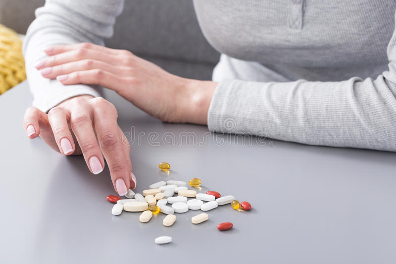 My daily dose of pills... stock images