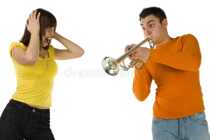 My ears!. The man trumpet something loud and the woman covering ears and screaming. Front view. White background stock images