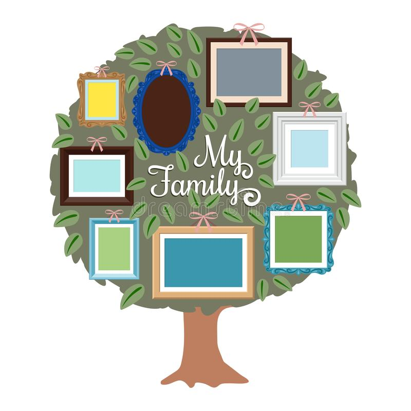 My family genealogy tree with retro frames on the foliage. Generation tree with place for photo illustration vector illustration