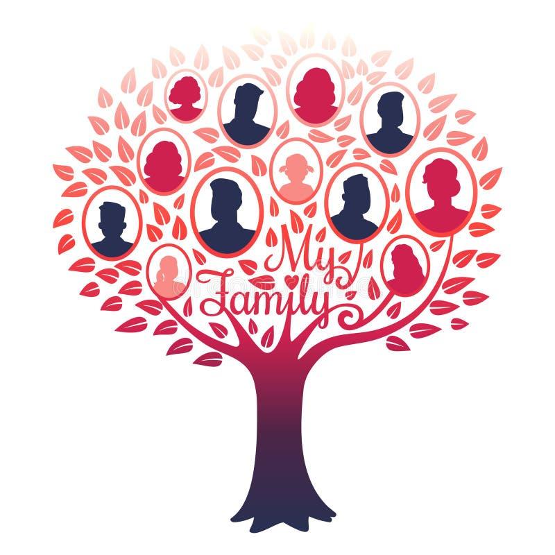 My family genealogy tree vector isolated on white background. Illustration of tree family, genealogical frame vector illustration