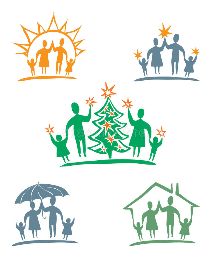 My Family. Vector Icon Set. Stock Illustration ...