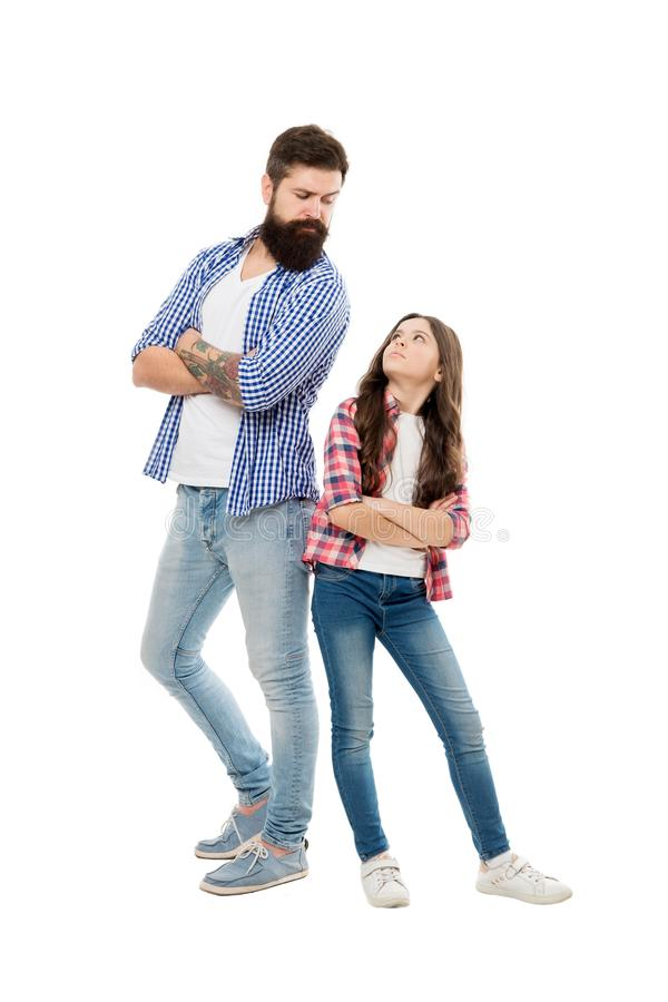 My father is superhero. Being brave hero for small daughter. Support and defence. Little child and hipster father on stock image
