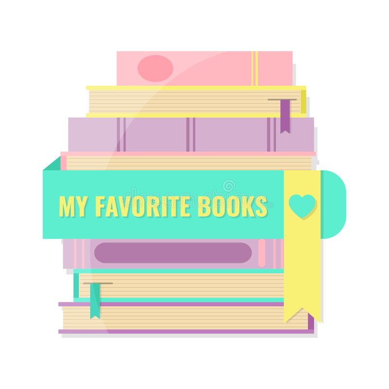 My favorite books concept. Stack of books and bookmark royalty free illustration