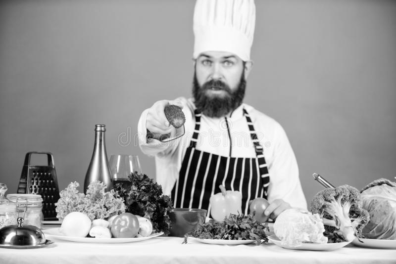 My favourite breakfast. Bearded man cook in kitchen, culinary. Vegetarian. Mature chef with beard. Healthy food cooking. Dieting and organic food, vitamin stock photos