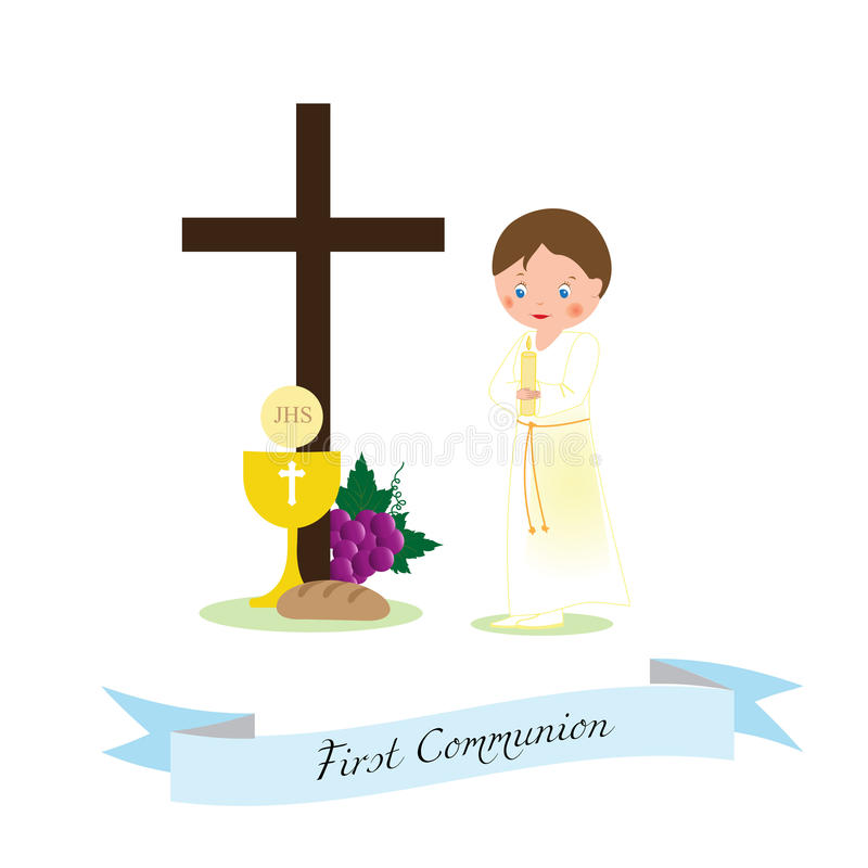 Download My first communion stock vector. Image of banner, ribbon - 83720644
