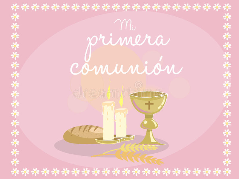 My first communion card invitation religious elements on blue card invitation religious elements on blue stock vector illustration stopboris Image collections