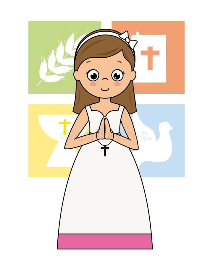My first communion card. Praying girl stock illustration