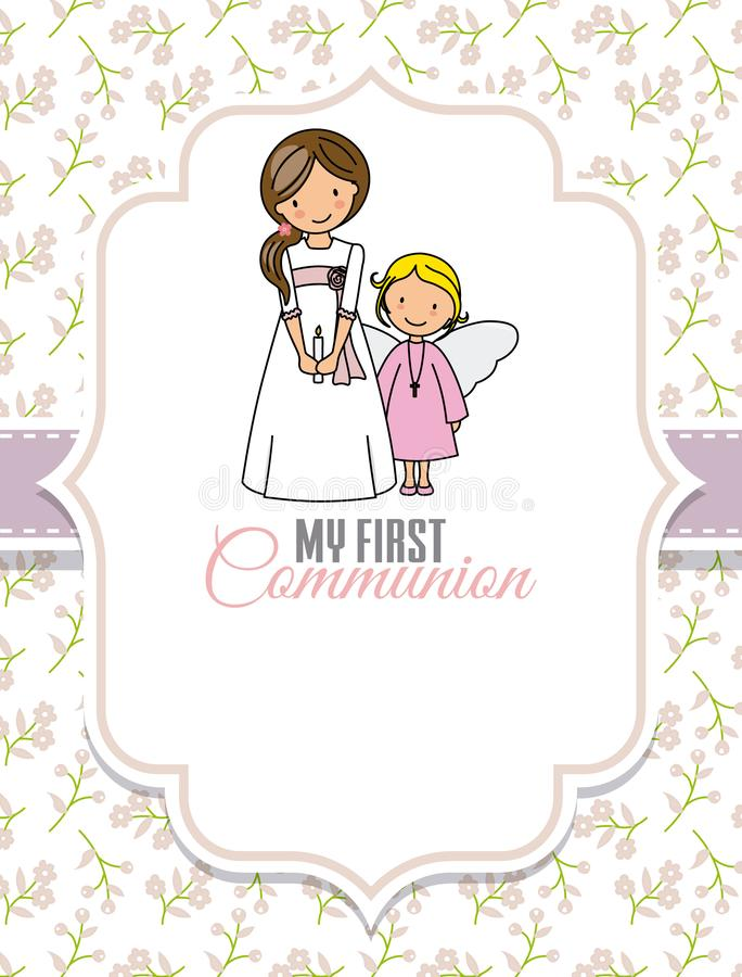 My first communion. Girl and angel. Space for text royalty free illustration