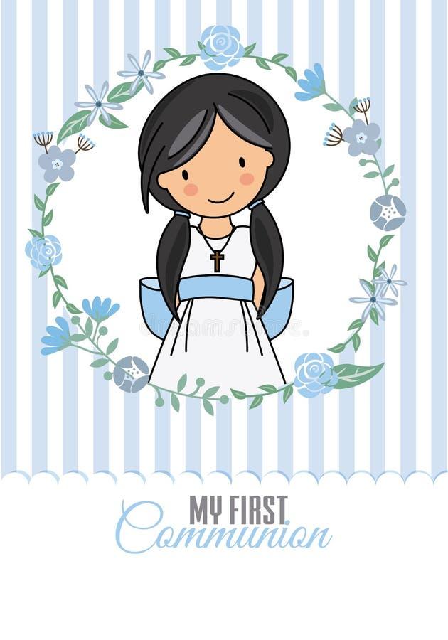 My first communion girl royalty free illustration
