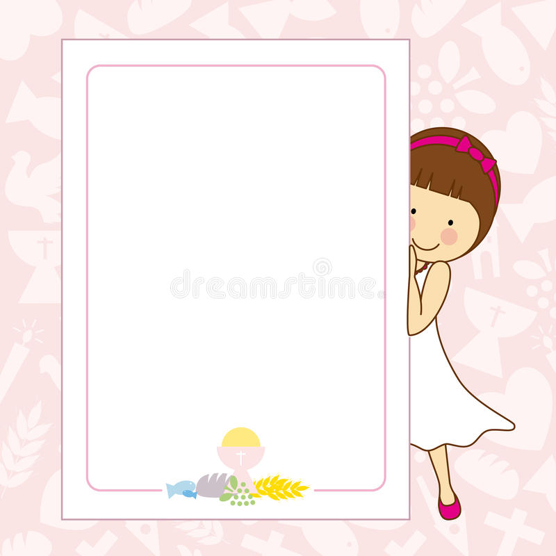 My first communion girl. Space for text or photo vector illustration
