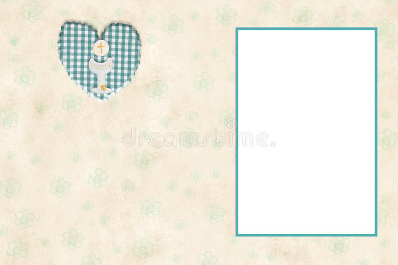 My First Communion photo frame card vector illustration
