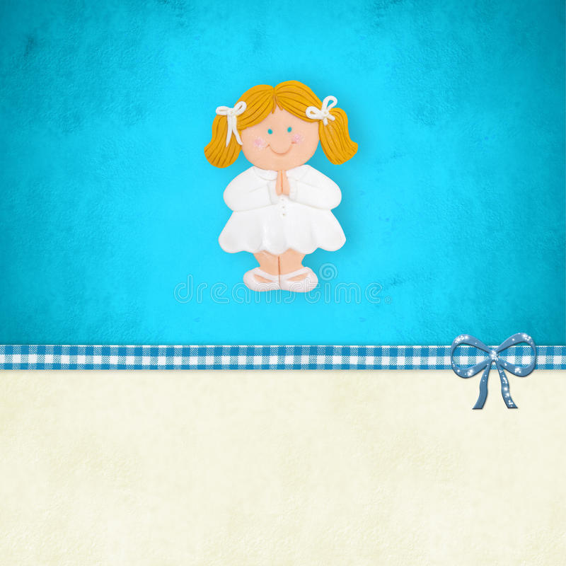 My First Communion reminder blonde girl praying stock illustration