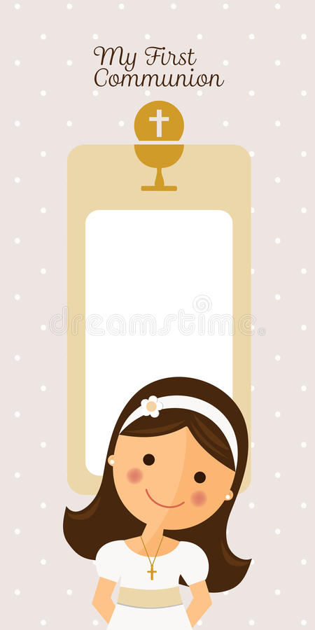 My first communion vertical invitation. With message stock illustration