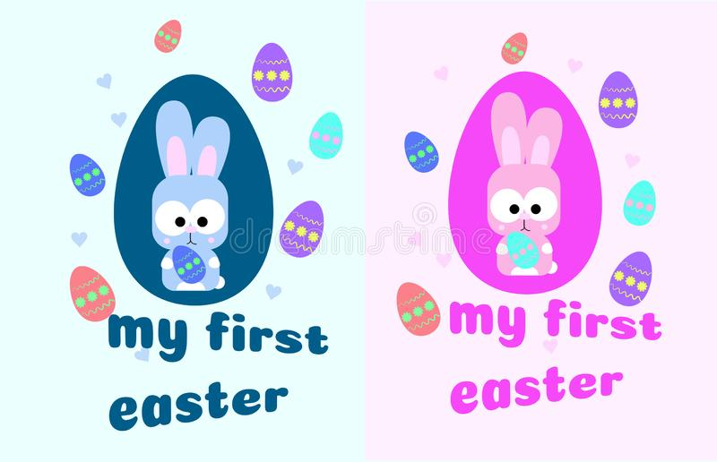 My first Easter. Card with a cute little rabbit. Bunny and colorful eggs. pink and blue for boy and girl. Vector stock illustration