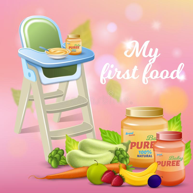 My First Food Promo Banner, Fresh Baby Breakfast royalty free stock image