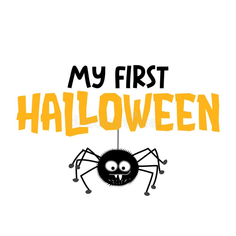 Free My First Halloween - Hand Drawn Vector Illustration With Cute Hanging Spider Stock Image - 200379571