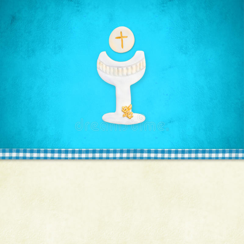 My First Holy Communion invitation reminder. Card,Chalice in blue background and blank space to customization royalty free illustration