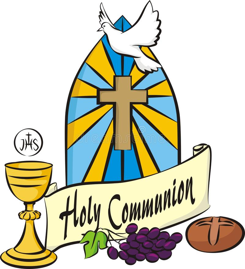 My first holy communion. Holy communion items on the background of stained glass stock illustration