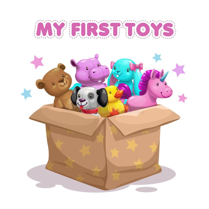 My first toy. Funny textile animal toys in the box. stock illustration